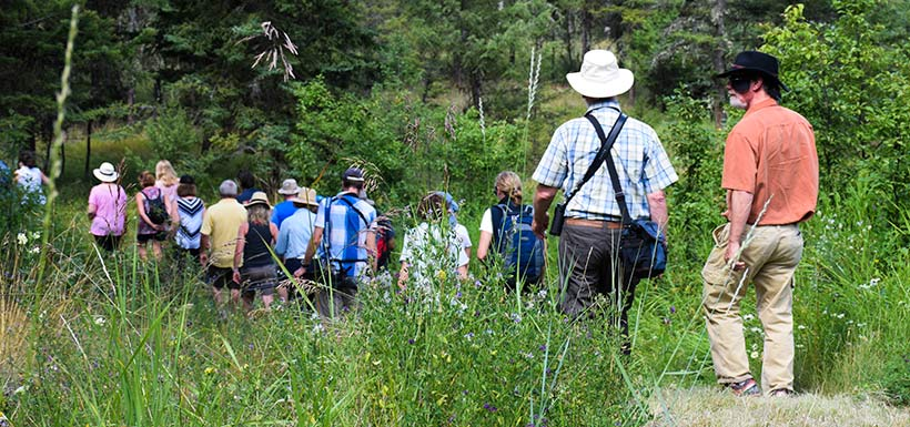 Hiking the trails at the SRL-K2 Ranch (Photo by NCC)