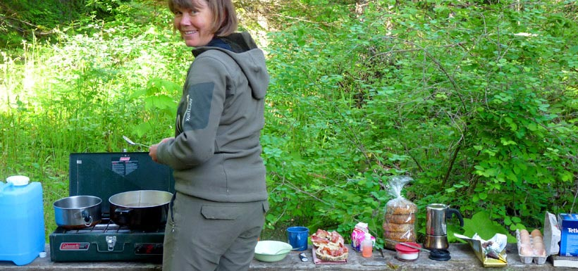 Nancy Newhouse making camp at Darkwoods (Photo by NCC)