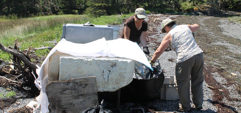 A total of 23 bags of garbage, plus several large pieces of pressure-treated wood and foam pieces were picked up over the course of the Simpson Island Cleanup (Photo by NCC)