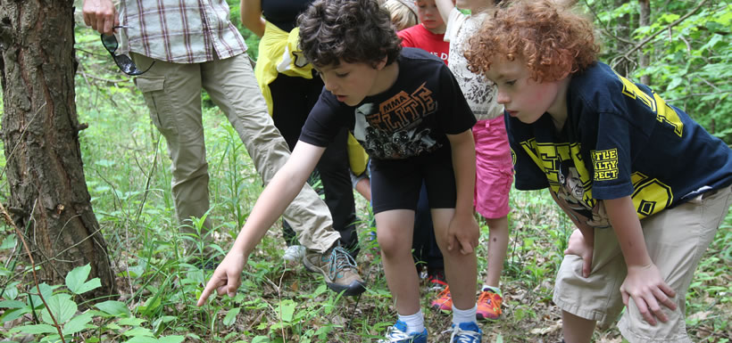 Children at a Nature Days event in the Happy Valley Forest, ON (Photo by Mike Dembeck)