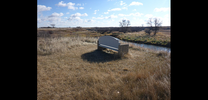 A bench overlooking the Gainsborough Creek, Ralph Wang Trail, MB (Photo by Ashley Greenley/NCC)