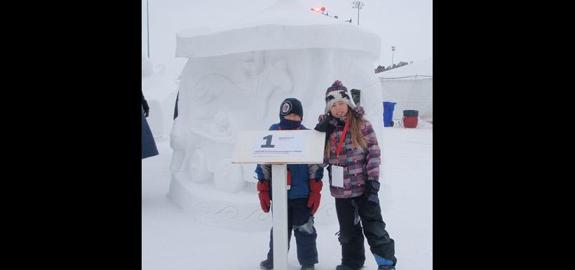 Carousel snow carving by Jodine Pratt's family. (Photo by Jodine Pratt/NCC staff)