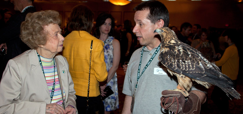 Catherine Thexton, Dan Diawol & red-tailed hawk (Photo by NCC)