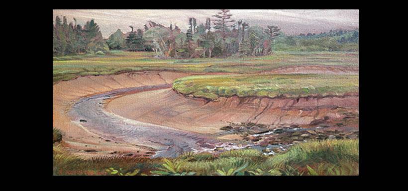 Butlers Creek Low Tide (Painting by Aleta Karstad)