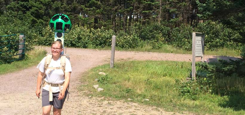 NCC intern captures images of Johnson's Mills, NB using the Google Trekker (Photo by NCC)