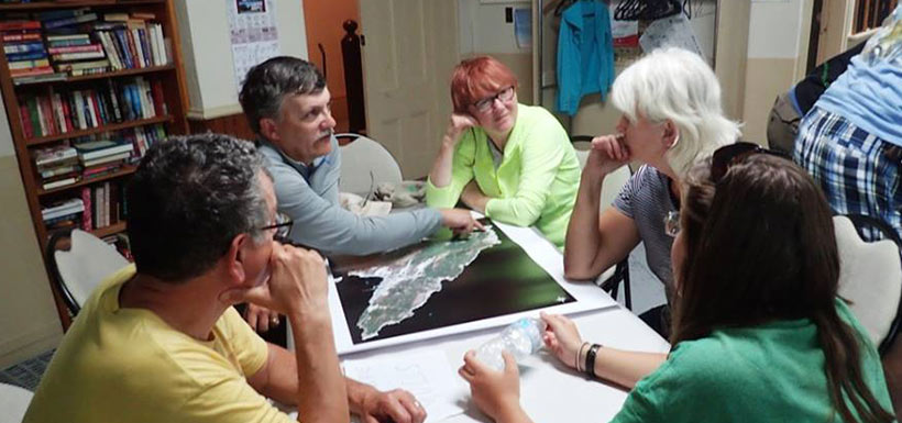Conversations with community members about Big Meadow Bog, gulls, Eastern Mountain avens.... (Photo by NCC)
