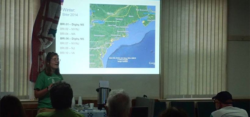 Kate Shlepr talks about her gull research. (Photo by NCC)
