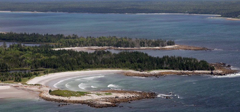 Aerial image of NCC's Nature Reserve at Sandy Bay, Port Joli, NS (Photo by Mike Dembeck)