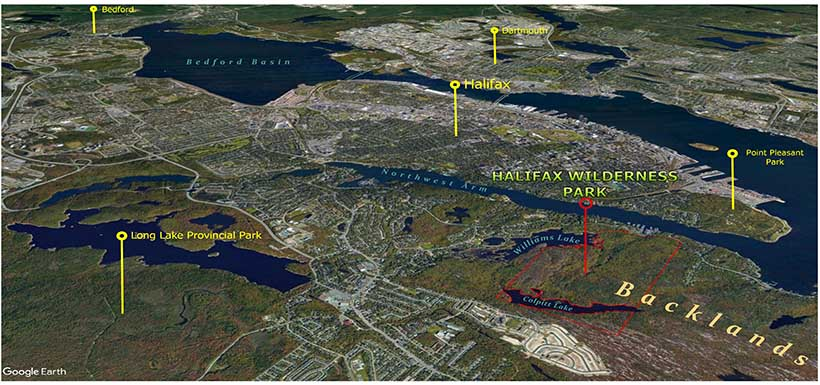 Map showcasing Halifax and the surrounding area.
