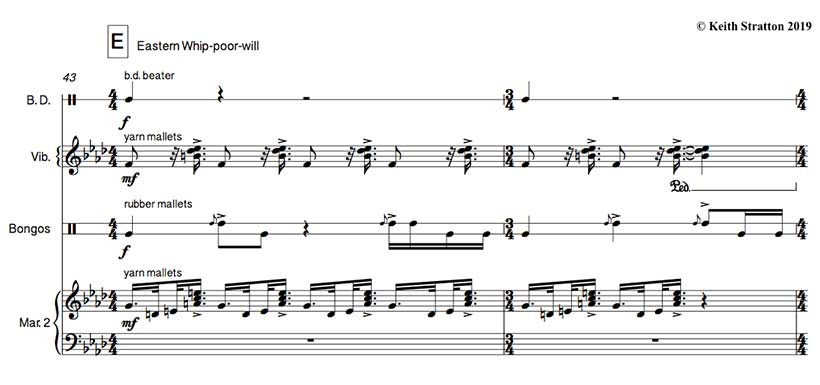Eastern whip-poor-will (Music score excerpt by Keith Stratton)