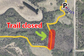 Trail section closed at Bunchberry Meadows