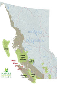 The West Coast Program's priority natural areas.