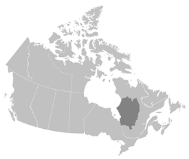 Figure 1.  Eeyou Istchee is the traditional territory and homeland of the Crees in northern Quebec, spanning over 400,000 km2 inland from the eastern coastlines of James Bay and Hudson Bay (map by NCC).