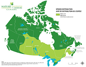 Canadian distribution of yellow rail (Map by NCC)