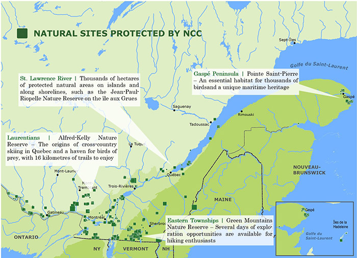 Natural sites protected by NCC