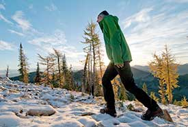 A hiker on Darkwoods (Photo by Bruce Kirkby)