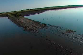 View of Oak Lake Wetland, MB, from a drone. (Photo by M3 Aerial Productions)