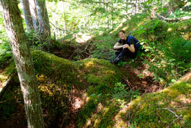 Amy exploring a section of karst forest in Cape Breton, NS (Photo by NCC)