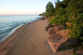 Shore of the Middle Point Woods property, Pelee Island, Ontario (Photo by Sam Brinker, OMNR)