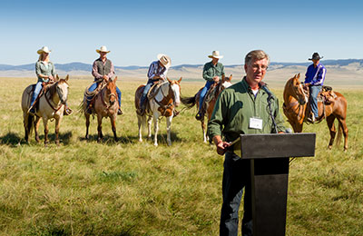 NCC's Bob Demulder speaking at the Waldron announcement, AB (Photo by Kyle Marquardt)