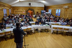 NCC's Bob Demulder talking at the 2018 Waterton Eat & Greet (Photo by NCC)