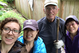 Dick Loomer hosted volunteers at his home to plant trees for Swishwash Island. (Photo by NCC)