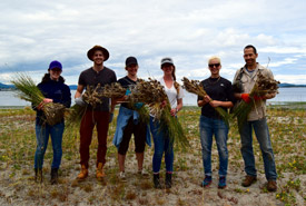 Sea Cider staff with a bounty of invasive crow garlic from James Island, BC (Photo by NCC)