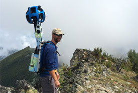 Adrian Leslie with the Google Trekker (Photo by NCC)