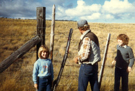 Roy Jackson and his daughters on Napier Lake Ranch (Photo courtesy of the Jackson family)