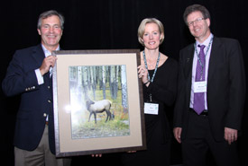 Jim Richardson, Kim Bassey and Michael Paterson, Celebrating Nature Dinner 2012, MB  (Photo by NCC)