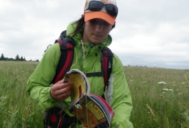NCC conservation intern monitoring plant communities (Photo by NCC)