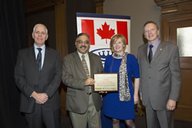 George Boland, Kamal Rajani, Jane Gilbert and Brian Leader at the 2013 VSRA luncheon (Photo courtesy of the Queen`s School of Business)