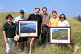 NCC staff and some members of the Maxfield family during a property visit, Point Escuminac, NB (Photo by Mike Dembeck)