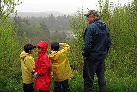 Listening to bird songs, Warbler Alley, Brooms Brook, Codroy Valley, Newfoundland and Labrador (Photo by NCC)