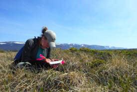 Megan Lafferty conducting field work during her 2013 internship. (Photo by NCC)