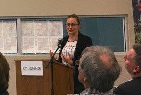 Megan Lafferty presenting to NCC partners. (Photo by NCC)