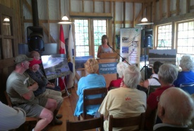 Deborah Carver speaks on behalf of donors, NCC news conference, Sandy Bay, NS (Photo by NCC)