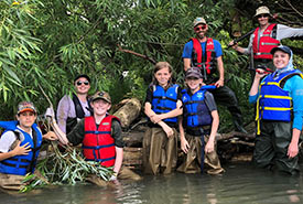 Conservation volunteers enjoyed three days canoeing the Minesing Wetlands and building fish habitat (Photo by NCC)