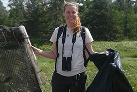 Claire Elliott at a Conservation Volunteers event in Tabusintac, NB (Photo by Joanna Hudgins)