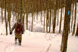Winter hiking on the Niagara Escarpment (photo by Al Thompson)