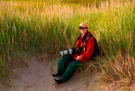 Diane Griffin, NCC Program Manager for PEI, monitoring natural area at St. Peters Lake Run (Photo by NCC)