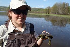 Caroline Gagné, inventaire de tortues, QC (Photo de CNC)