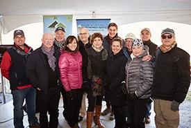 Paul Archer (NCC), Denis Paradis (Government of Canada), Jean Laporte (NCC), Isabelle Charest (Government of Quebec), Robert Winsor (donor), Marie-Josée Auclair (Appalachian Corridor), Joël Bonin (NCC), Mélanie Lelièvre (Appalachian Corridor), Michel Saucier (donor), Gisèle Beaulieu (donor), Jacques Drolet (Bolton-Ouest) and Bertrand Larivée (Conservation lac à la Truite Orford) (Photo by Martin Beaulieu)