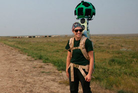 Carissa Sideroff capturing Old Man on His Back with the Google Trekker. (Photo by NCC)