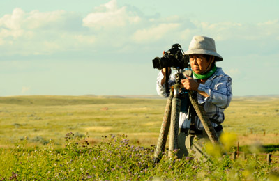 Gail Chin captures a photo of the Old Man on His Back landscape. (Photo by Mark Taylor)