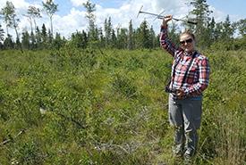 Sarah tracking bats at the Nebo property in Saskatchewan (Photo by Joseph Poissant)